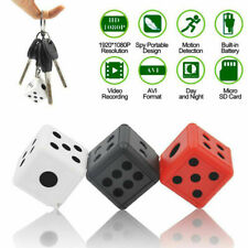 HD 1080P Dice Mini Hidden Camera Microphone Spy Keychain Cam Security SQ16 pw