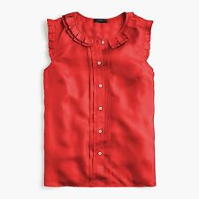 NWT J.Crew Silk Pleated Ruffle Top Blouse Red Size 12