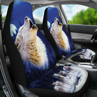 2pcs/Set Seat Car Covers Protector Universal Cushion Wolf Theme Front Seat