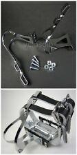 'VeloSolo' DOUBLE TOE CLIPS Chrome fixed track singlespeed fixie pedal steel