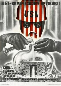 USA Russia Cold War Propaganda Poster - No To Chemical Weapons, Soviet Union
