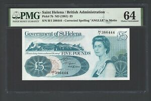 St.Helena 5 Pounds ND(1981) P7b N386444 Uncirculated Grade 64