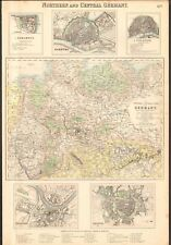 1874 ca LARGE ANTIQUE MAP- PETERMANN - NORTHERN AND CENTRAL GERMANY