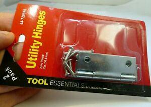 "2 pack Wooden Door Cabinet Chest Utility Hinges  2"" long Chrome Metal screws"