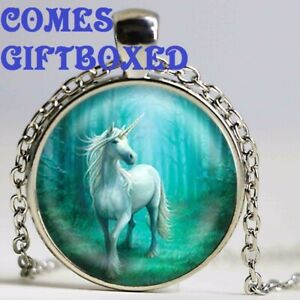 UNICORN FANTASY PENDANT NECKLACE 22 INCH CHAIN WITH GIFT BOX BIRTHDAY
