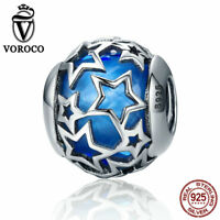 VOROCO Fahsion Blue Star Charms Sterling Silver With Crystal Glass For Bracelet