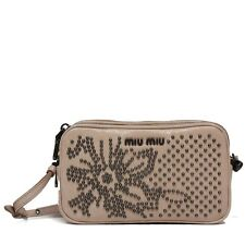 MIU MIU Studded Vitello Shine Leather Convertible Wristlet Clutch Bag in Cipria