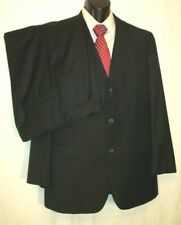 BROOKS BROTHERS Suit 43L 3 Button 36W33L Black Pinstripe Lined Pleated Cuffed 9