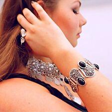 Charm Vintage Women Fashion Black Gemstone Cuff Chain Bracelet Jewelry