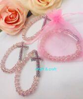 12 Baptism Favors Bracelets Crystal  Recuerdos de Bautizo y communion FREE BAGS