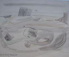 "JACK CROW AUSTRALIAN INK WC ""SURREAL LANDSCAPE "" 1949"