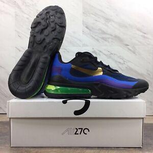 "Nike Air Max 270 React ""Heavy Metal"" Running Shoes Blue AO4971-005 Men's Sz 9.5*"