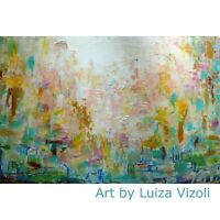 By the Sea GREECE Abstract Painting Art by Luiza Vizoli Soft Neutral Colors