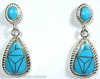 Turquoise Inlay 925 Sterling Silver Stud Dangling Earrings