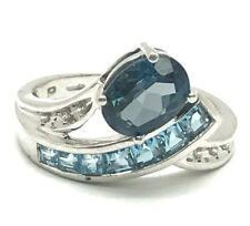 Sterling Silver 925 Oval London Blue Topaz CZ Accent Wave Cocktail Band Ring