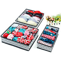 3Pcs 6/7/20 Compartment Multiuse Underwear Socks Storage Box Drawer Organizer