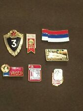 Lot of 7 Vintage Russian Soviet Political Military Pins Pin Buttons