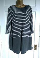 LAURA ASHLEY TUNIC DRESS Size 16 - Grey White stripe with unpicked pockets