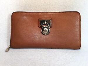MICHAEL KORS Hamilton Brown Leather Zip Around Clutch Wallet