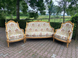 French Louis XVI Living Room Set With Floral Damask and Gold Leaf Frame