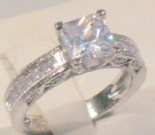Engagement Ring White Gold Sterling 2.00 Ct Princess cut Diamond Solitaire