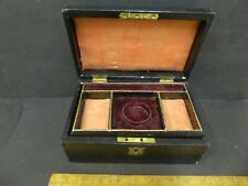 Antique Leather Jewellery Box with lined inner tray and Fob watch holder