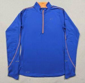 Nike Dri-Fit Element 1/2 Zip Pullover Running Shirt Long Sleeve Thumb Holes Sz S