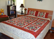 Beige color Cotton Bedspread Flat Sheet Embroidered Elephant All Over From India