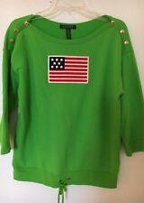 Womens Unique Summer Sweater Lauren Ralph Lauren Bright Green Big Flag M