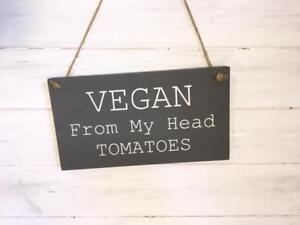 Vegan wooden sign/Vegan gift/Vegan cafe decor/Vegan from my head tomatoes plaque