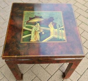 Small low chinese oriental style, lacquer finish top effect decorated side table