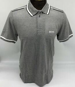 Hugo Boss Polo Men stretch Cotton Fabric Regular fit color Ash / White Collar