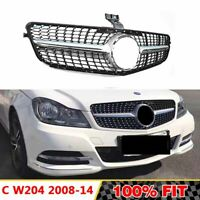 Front Racing Diamond Grills Billet Bumper Grille Cover For Mercedes C Class W204