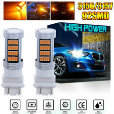 2X 92-4014SMD 3157 3156 4157 4057 LED Amber Yellow Turn Signal Corner Light Bulb