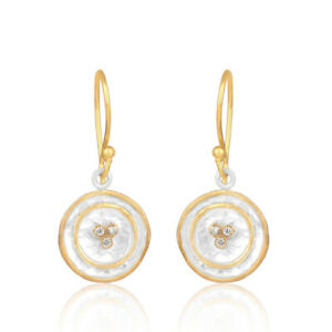 Yellow and silver plated brass round disc designer dangle earrings jewelry