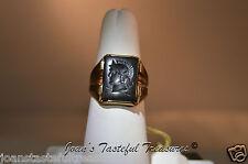 10k YG Men's Intaglio Hemitite Ring size 8 - New Old Stock w/ tag