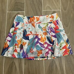 Athleta Floral Skort Size Small Womens Skirt Golf Tennis White