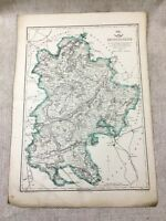 Antique Map Bedfordshire County Bedford England 19th Century Old Hand Coloured