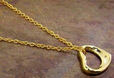 Stunning 24k Gold over Sterling Silver Floating Heart Pendant Necklace