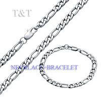 T&T 7mm 316L Stainless Steel Figaro 3+1 Chain Necklace with Bracelet SET