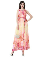 Women's PLUS Floral Print Cold Shoulder Pleated Chiffon Maxi Dress AUS STOCK 18