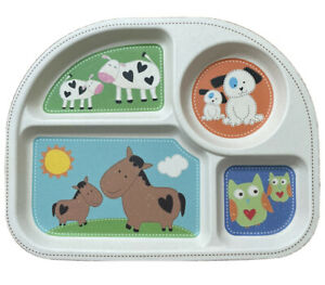 Tiny Footprints Bamboo Sectional Baby Plate Cows Horses Dogs & Owls