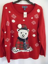 "NEW Karen Scott ""Ugly"" Christmas Sweater 2X Red Teddy Bear Snowflakes NWT"