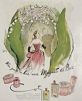 Vintage 1947 COTY Muguet Des Bois Perfume Eric Carl Erickson Color Print Ad
