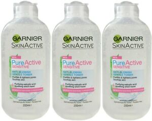 3 x GARNIER 200mL SKIN ACTIVE ANTI-BLEMISH GENTLE TONER SENSITIVE 100% BRAND NEW