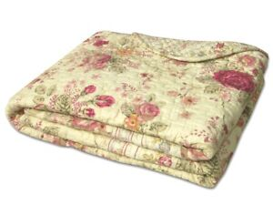 VINTAGE ROSE 50x60 QUILT THROW : CHIC CREAM SHABBY COTTAGE PINK ROSES BLANKET