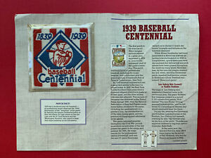1939 Baseball Centennial Patch on a Info Signed Card by Enos Slaughter & S Sisti