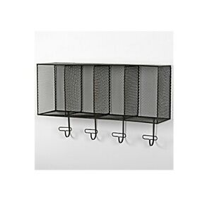 Industrial Wall Mounted Mesh Storage Shelf With 4 Hooks by Originals
