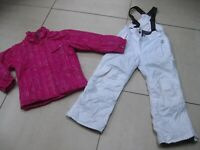 2 piece kids girls SURFANIC SKI SUIT 7 8 years jacket salopettes pink white 128