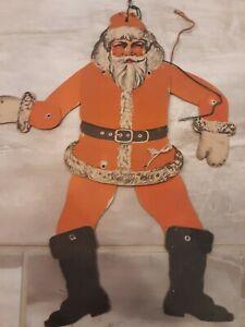 Antique Diecut Die Cut Cardboard Mechanical Christmas SANTA Marionette ?